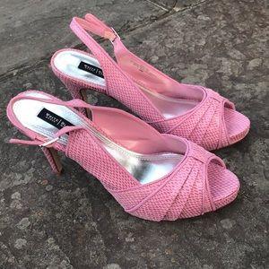 White House Black Market Khloe Pink Peep Toe Heels